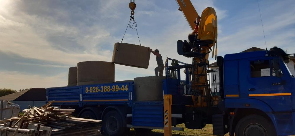 Услуги манипулятора 11 тонн. Погрузка ж/б колец для колодца. Московская область,Раменский район