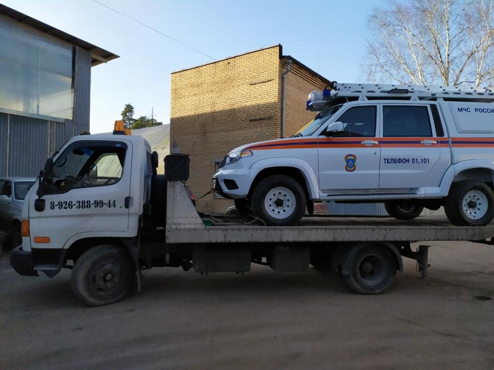 Эвакуация(перевозка) автомашины МЧС на выставку г.Москва